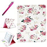 iPad 2/3/4 Leather Case, JCmax Protective Cover [Card Slots] [Durable Cover] [Kickstand Feature] Flip Side Premium Foldable New Book Style PU Leather Wallet Kickstand Case Smart Cover Skin Protection For Apple iPad 2 / iPad 3 / iPad 4, Come with One Stylus - [Rose Pattern Design]