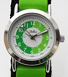 Reflex Boys Green / Black Stripe Fabric Velcro Strap Time Teacher Watch 105037CC