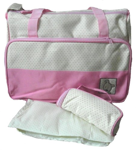Cream & Pink polka dot baby Changing bag with bottle holder & change mat