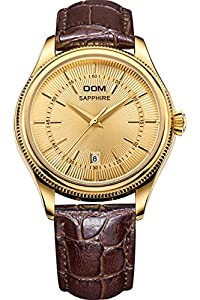DOM Mens Casual Luxury Gold Classic Vintage Leather Quartz Watches