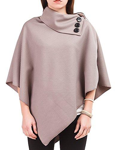 24brands - Poncho cappa mantella giacca cardigan pullover 5 colori ragazza donna giacchetta bolero - 3003, Size:Taille unique;Farbe (NEU):Grau