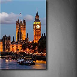 Modern Home Decoration painting Big Ben And Westminster Bridge In The Evening London United Kingdom Boat Light Pictures Print On Canvas Architecture The Picture