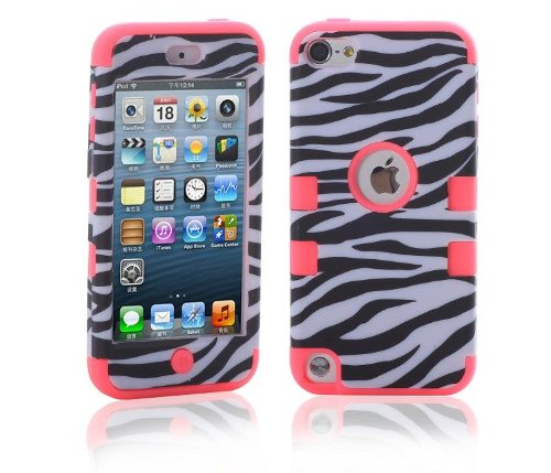 Topforcity PC + TPU Zebre Combo Hard Soft High Impact Armor Case Skin Gel for Apple iPod Touch 5 with free Screen Protector(rose)
