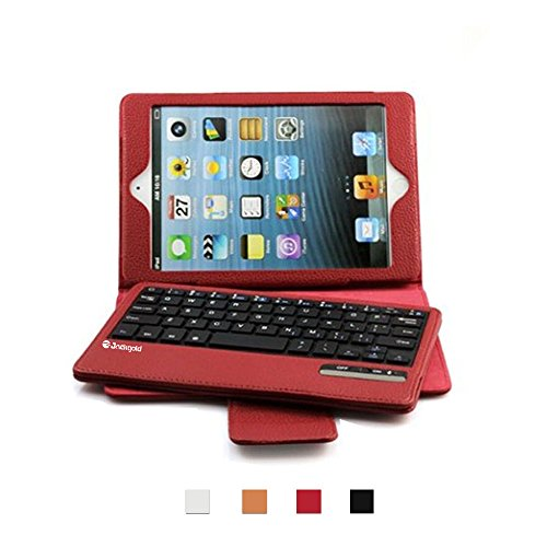 (ジャックゴールド)JackGold 新しい耐衝撃プレミアムPUはAppleのiPadミニ1/2/3赤BluetoothキーボードカバーケースをスタンドアップルのiPadミニ1/2/3を