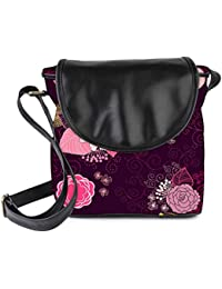 Snoogg Vector Flower Seamless Pattern Womens Sling Bag Small Size Tote Bag