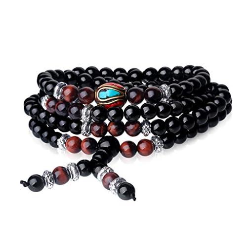 AmorWing-108-Obsidian-und-Tigerauge-Buddhistisches-Wickelarmband-Halskette-fr-DamenHerren
