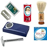 Shaving Factory SF200 De Safety Razor/ Hand Made Shaving Brush Arko Shaving Soap and Derby Extra Double Edge Razor Blades Gift Set for Menby Shaving Factory