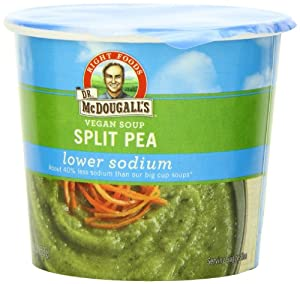 Dr. McDougall's Right Foods Vegan Split Pea Soup, Lower Sodium, 1.9-Ounce Cups (Pack of 6)