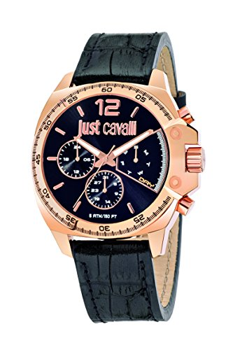Just Cavalli Just Escape Men's Quartz Watch with Black Dial Analogue Display and Black Leather Strap R7251213001