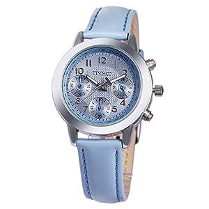 TIME100 Ladies' Fashion Multicolor Multifunction Blue Genuine Leather Waterproof Quartz Watch #W70073L.02A