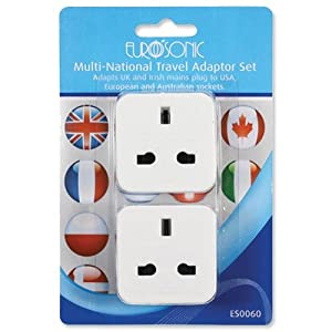 Eurosonic Travel Adaptor Set Multinational UK USA Europe Australia Ref ES0060