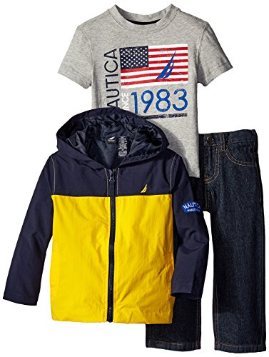 Nautica Little Boys' 3 Piece Set Jacket Outerwear Set, Yellow, 2T