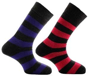 Horizon Women's Deluxe Merino Outdoor 2 Pack Sock - Hoops Charcoal/Cerise & Charcoal/Purple, Size 4-7