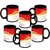 Christmas Gifts HomeSoGood Christmas And New Year Black Ceramic Coffee Mug - 325 Ml (Set Of 6)