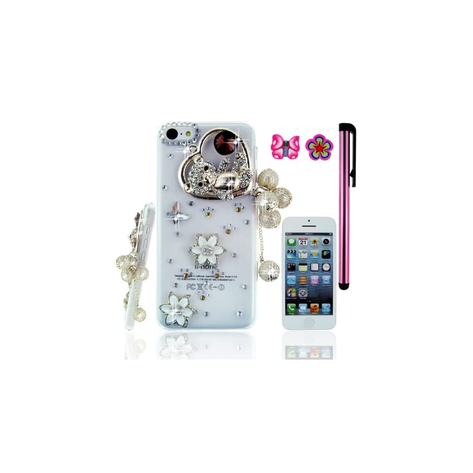 FiMeney Handmade Golden Crystal Diamond Rhinestones Love Heart Bear Pearls Pendant White Camellia Clear Transparent Back Hard Protective Case Cover Shell For Apple iPhone 5C + Cleaning Cloth + 2013 Calendar Card + Pink Stylus Pen + Pink Butterfly And Sakur