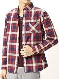 (アーケード) ARCADE 秋 ボタンダウン シャツ メンズ 長袖 ブロード チェックシャツ 白シャツ L レッド(1)