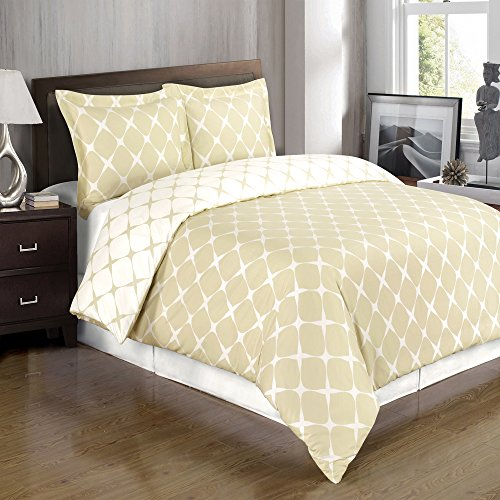 2-PC Beige and Ivory Twin/Twin XL Bloomingdale 100% Egyptian Cotton Duvet Cover Set 300TC (Single Duvet Insert compare prices)