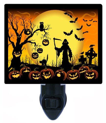 Halloween Night Light - Beware Take Care - Pumpkins & Bats