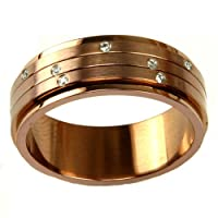 Stainless Steel Ring 316 Chocolate Color Spinner Band CZ Diamonds 8mm Width by Bucasi