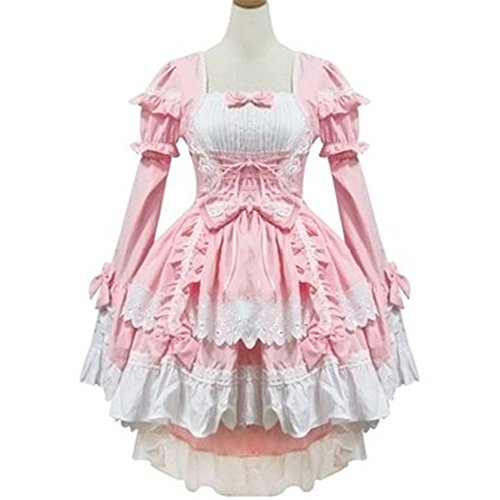 Hi-Q Pink Japan Cosplay Lolita Maid Fancy Dress Costumes Showgirl Outfit