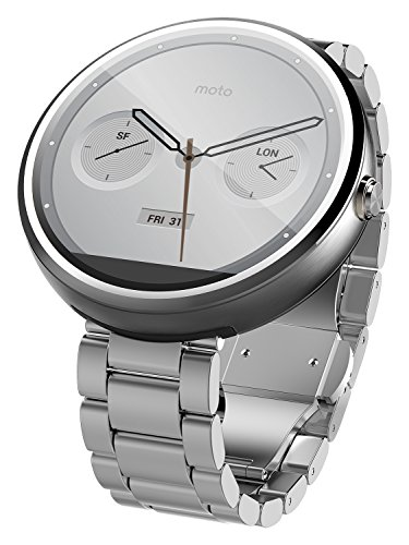 Motorola Mobility Moto 360 Androidwear Smartwatch for Android Devices 4.3 or Higher -  Natural Metal - 18mm ***Discontinued by Manufacturer***