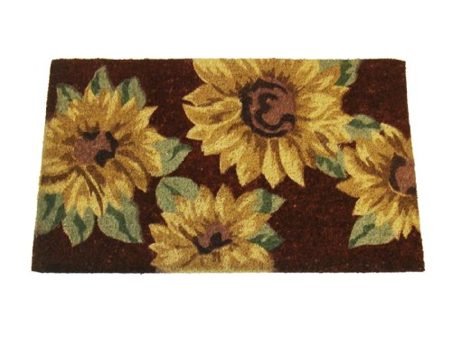 Geo Crafts IE 1337 18-Inch-by-30-Inch PVC Backed Coir Doormat, Sunflower
