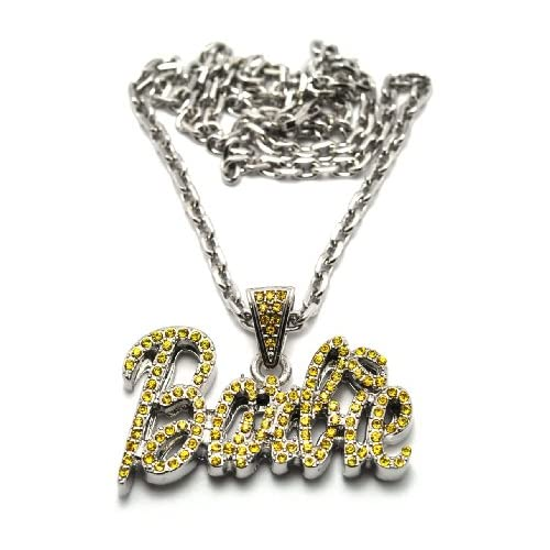 Small Silver with Yellow Nicki Minaj Barbie Pendant with a 20 Inch Link Necklace Chain