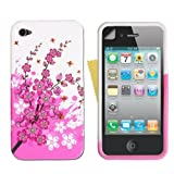 Pink And White Bee Floral Silicone Gel Case Cover Skin For Apple iPhone 4S iPhone 4 With Screen Protector Film From Yousave Accessories ~ Yousave