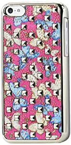Reiko Plating Rivets Cover with Butterflies Pattern for iPhone 5C - Retail Packaging - Blue