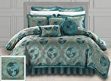 Chic Home 9 Piece Romeo & Juliet Decorator Upholstery Quality Jacquard Motif Fabric Bedroom Comforter Set & Pillows Ensemble, King, Teal