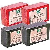 Khadi Mauri Saffron & Neem-Tulsi Soaps Twin Pack Of 4 Ayurvedic Herbal