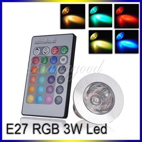 Rgb E27 Led Lampe Télécommande Ampoule 16 Multicolore 85~240V 3W Spot Lumière #F