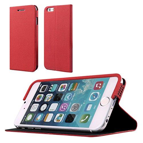 Dokpav® iPhone 6 Hülle,Schlank Flip PU Leder Hülle Hülle für Apple iPhone 6 - rote