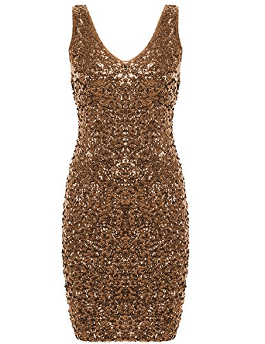 PrettyGuide Women Sexy Deep V Neck Sequin Glitter Bodycon Stretchy Mini Party Dress Gold M