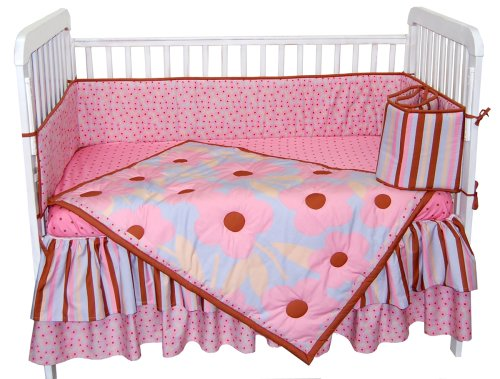 Tadpoles Field of Flowers 4 Piece Crib Set in Pink and Periwinkle - 1