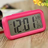 kokorest LED Digital Alarm Clock Backlight Time Date Repeating Snooze Light-activated Sensor Backlight Time Date Temperature Display Rose Red