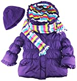 Pink Platinum Little Girls Stripes Lining Puffer Jacket with Scarf and Hat Set