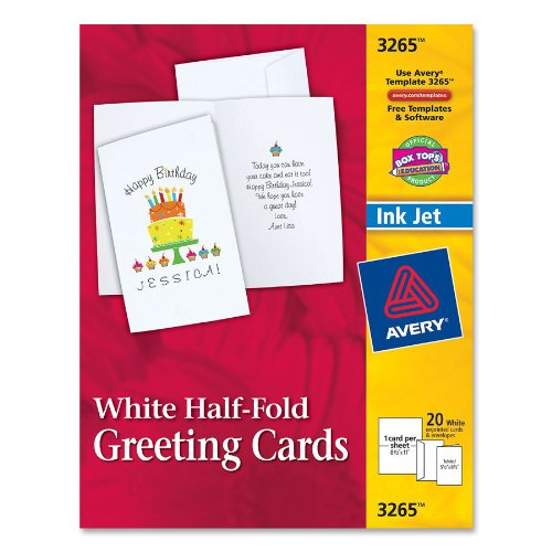 avery half fold greeting cards for inkjet printers 5 5 inches x 8 5 inches white matte pack