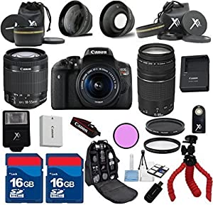Canon T6i Camera with 18-55mm IS STM + 75-300mm III Zoom + 3Pc Filter Kit + Wide Angle + Telephoto + Spider Tripod + 2pcs 16GB Memory Cards + 22pc Kit - International Version