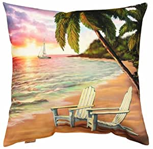 Beach Scene Throw Pillows : Amazon.com: Manual Climaweave Indoor/Outdoor Throw Pillow, Beach Scene Sailboat, 20 X 20-Inch ...