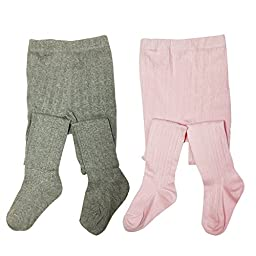 Bowbear 2-Pair Girls Warm Winter Cotton Ribbed Tights, Light Pink & Gray, 2-3 Years