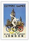 第14回夏季オリンピック競技大会 - イギリス ロンドン - 1948年7月29日~8月14日 - 円盤投げ選手 - ビッグベン、ウェストミンスター宮殿 - ビンテージなオリンピック大会のポスター によって作成された ウォルター・ハーツ c.1948 - キャンバスアート - 69cm x 102cm キャンバスアート(ロール)