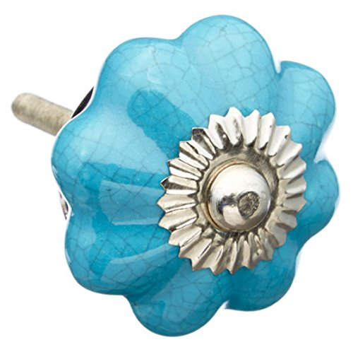 Turquoise Melon Ceramic Dresser Drawer, Door, Cabinet Knob - Pack of 12 (Dresser Knobs Turquoise compare prices)