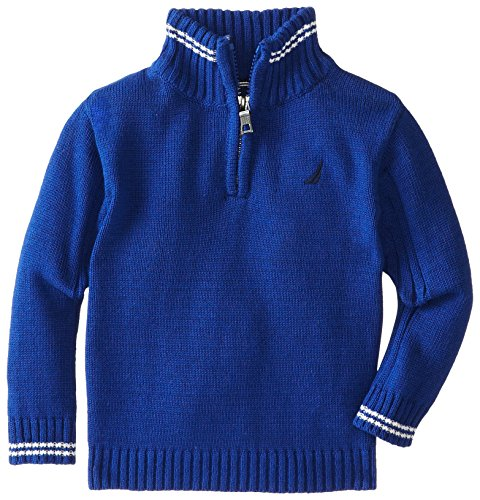 Nautica Baby-Boys Infant Long Sleeve Solid Sweater, Blue, 18 Months front-1018940