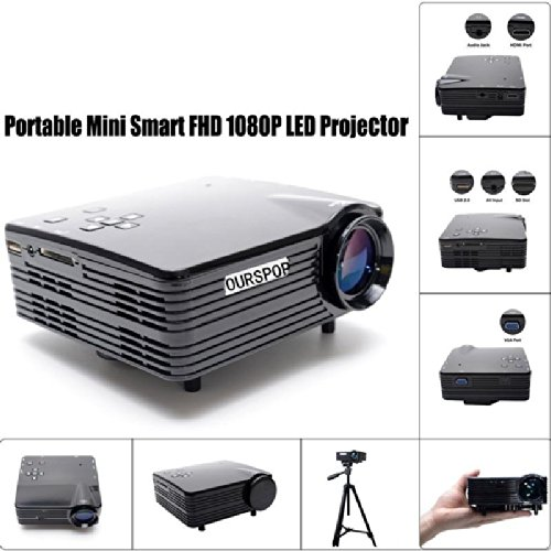 Ourspop® Portable New Mini 1080P Led Projector W/ Hdmi,Vag,Usb 2.0, Av, Sd-Black