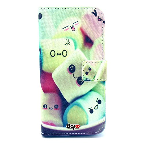 Bayke Brand / Iphone 5C Smartphone Fashion Pu Leather Wallet Flip Protective Skin Case With Stand With Credit Card Slots & Holder For Apple Iphone 5C (Cute Kawaii Marshmallows Pattern)