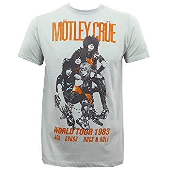 Motley Crue Men's Vintage World Tour 1983 Slim-Fit T-Shirt Silver