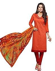 Khushali Presents Chudidar Dress Material(Orange,Red)