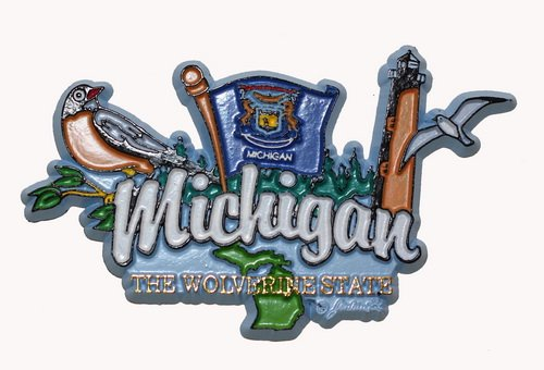 Michigan State Elements Fridge Collectible Souvenir Magnet (Michigan Fridge Magnet compare prices)