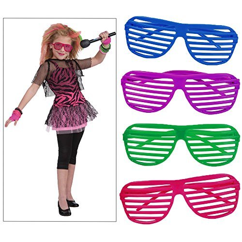 Toy Cubby Stylish 80's Slotted Party Favors Neon Costume Sunglasses, 36 pieces